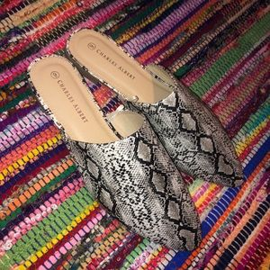 Shoes - Snake Print Mules